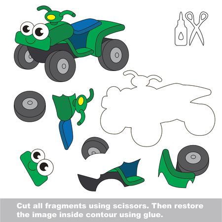 Use scissors and glue and restore the picture inside the contour. Easy educational paper game for kids. Simple kid application with Quad bike.