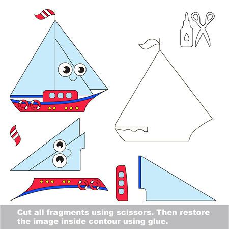 niño preescolar: Use las tijeras y el pegamento y restaurar la imagen en el interior del contorno. Juego fácil de papel educativo para los niños. aplicación chico sencillo con yate.