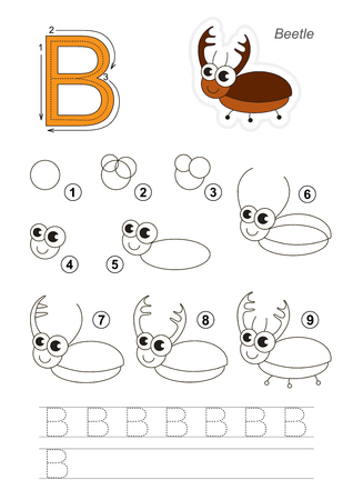 difficulty: Complete vector illustrated alphabet with kid games. Learn handwriting. Easy educational kid game. Simple level of difficulty. Gaming and education. Drawing tutorial for letter B. The Bug.