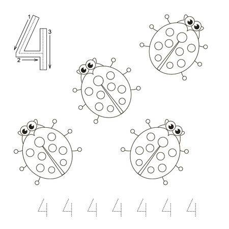brainteaser: Game for figure Four. Four Ladybugs to be colored. Coloring book to educate kids. Learn colors. Visual educational game. Easy kid gaming and primary education. Simple level of difficulty. Coloring pages. Illustration