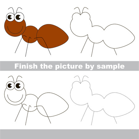 worksheet: Drawing worksheet for children. Finish the picture and draw the cute Ant