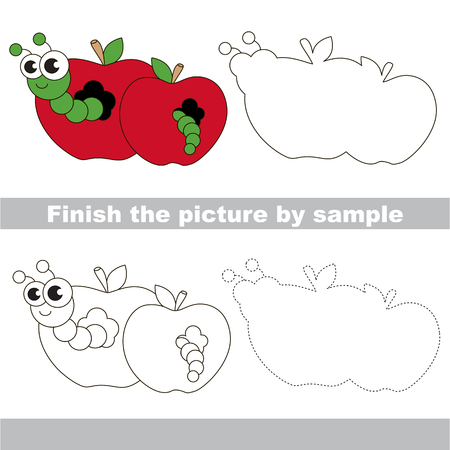 difficulty: Drawing worksheet for children. Easy educational kid game. Simple level of difficulty. Finish the picture and draw the cute Apple worm