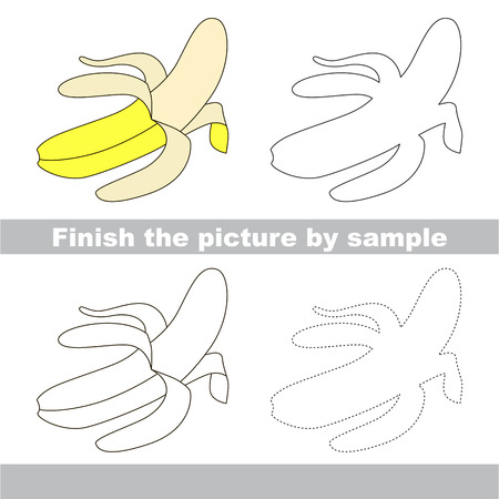 banana sheet: Drawing worksheet for children. Finish the picture and draw the cute Banana