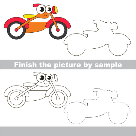 Drawing worksheet for children. Easy educational kid game. Simple level of difficulty. Finish the picture and draw the cute Motorcycle Illustration
