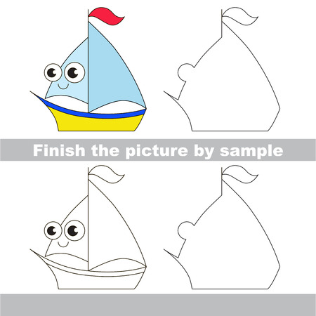 Drawing worksheet for children. Easy educational kid game. Simple level of difficulty. Finish the picture and draw the cute Yacht