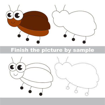 difficulty: Drawing worksheet for children. Easy educational kid game. Simple level of difficulty. Finish the picture and draw the cute small Bug.