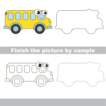 brainteaser: Drawing worksheet for children. Easy educational kid game. Simple level of difficulty. Finish the picture and draw the cute Bus Illustration