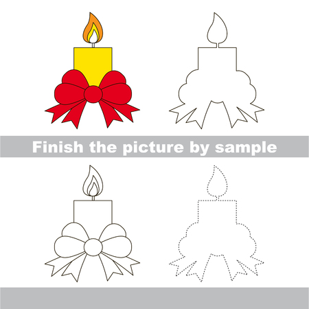 Drawing worksheet for children. Finish the picture and draw the holiday Candle Illustration