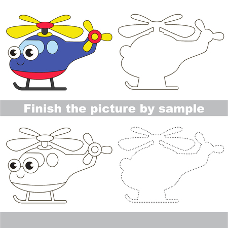 difficulty: Drawing worksheet for children. Easy educational kid game. Simple level of difficulty. Finish the picture and draw the cute Helicopter
