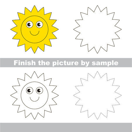 finishing school: Drawing worksheet for children. Finish the picture and draw the cute Sun