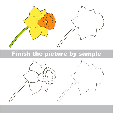 jonquil: Drawing worksheet for children. Finish the picture and draw the cute Daffodil