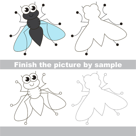 difficulty: Drawing worksheet for children. Easy educational kid game. Simple level of difficulty. Finish the picture and draw the cute fly
