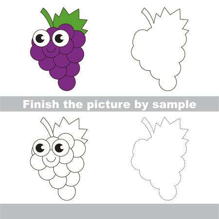difficulty: Drawing worksheet for children. Easy educational kid game. Simple level of difficulty. Finish the picture and draw the Cute Funny Grapes. Illustration