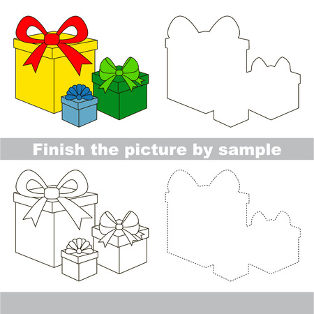 worksheet: Drawing worksheet for children. Finish the picture and draw the cute Gifts Illustration