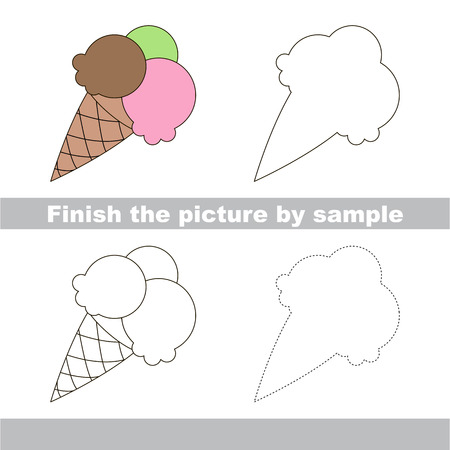finishing school: Drawing worksheet for children. Finish the picture and draw the cute Ice cream Illustration