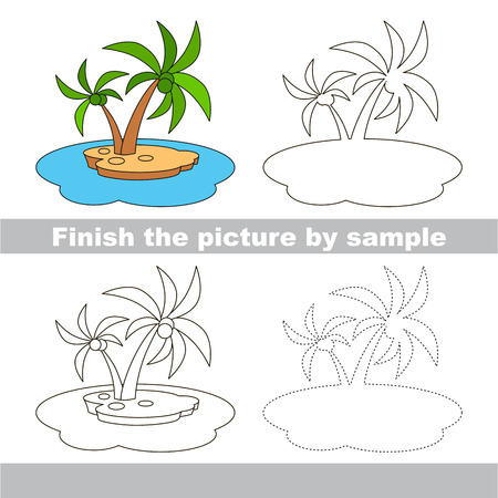 Drawing worksheet for children. Finish the picture and draw the cute Island Illustration