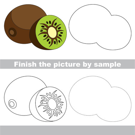 difficulty: Drawing worksheet for children. Easy educational kid game. Simple level of difficulty. Finish the picture and draw the Sweet Kiwi.