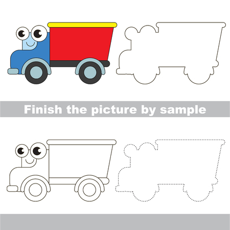 brainteaser: Drawing worksheet for children. Easy educational kid game. Simple level of difficulty. Finish the picture and draw the cute Track Illustration