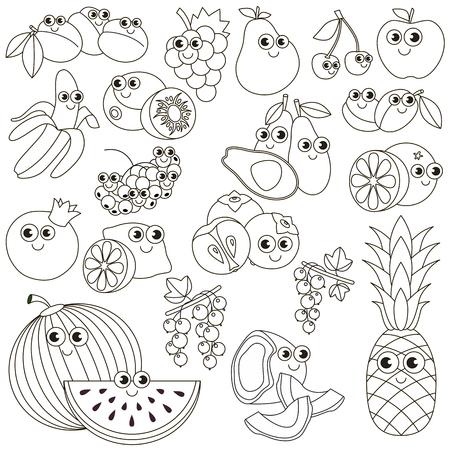 banana sheet: Big summer fruit set in vector, the colorless version.
