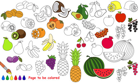 Big summer fruit set to be colored. Coloring book for children. Visual educational game. Easy kid gaming. Simple level of difficulty. Page for coloring.