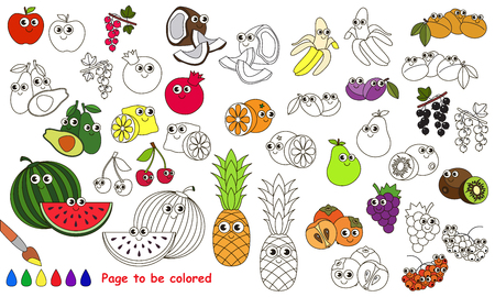 primary education: Funny big fruit set to be colored. Coloring book to educate kids. Learn colors. Visual educational game. Easy kid gaming and primary education. Simple level of difficulty. Page for coloring.