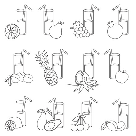 primary education: Set of fruit juices to be colored. Coloring book to educate kids. Learn colors. Visual educational game. Easy kid gaming and primary education. Simple level of difficulty. Coloring pages.