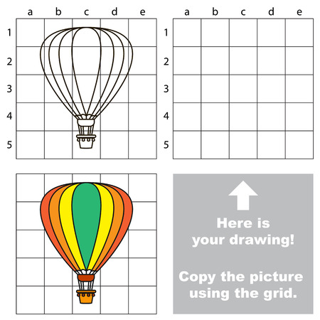 aerostat: Copy the picture using grid lines. Easy educational game for kids. Simple kid drawing game with Aerostat