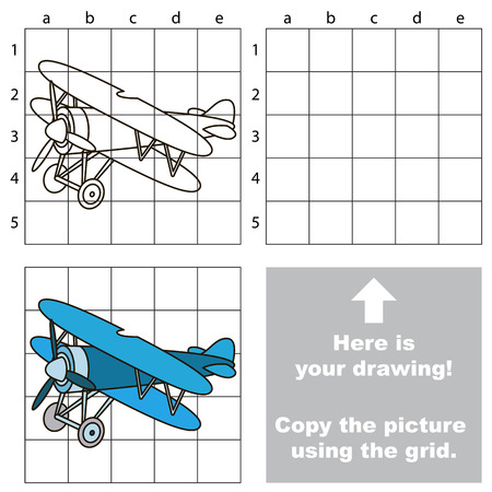 biplane: Copy the picture using grid lines. Easy educational game for kids. Simple kid drawing game with Biplane