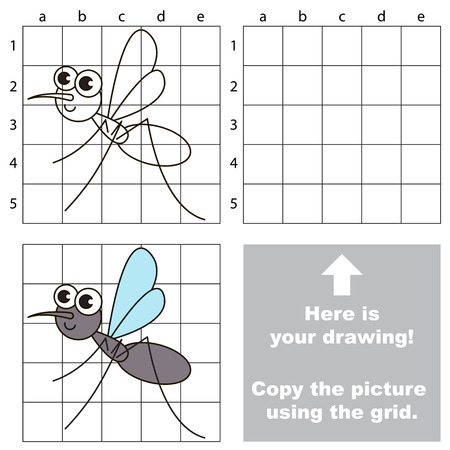 gnat: Copy the picture using grid lines. Easy educational game for kids. Simple kid drawing game with Gnat.