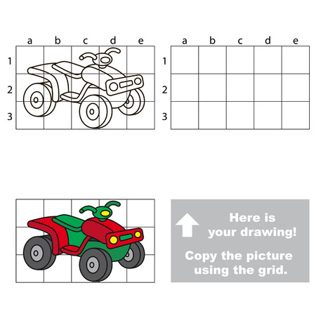 quad: Copy the picture using grid lines. Easy educational game for kids. Simple kid drawing game with Quad bike