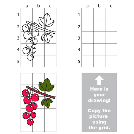 red currant: Copy the picture using grid lines. Easy educational game for kids. Simple kid drawing game with Red currant Illustration