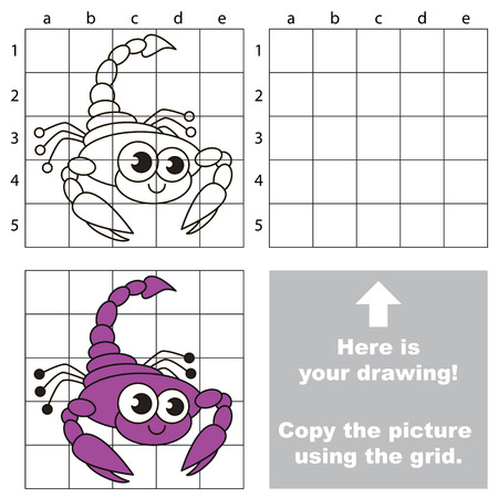 play poison: Copy the picture using grid lines. Easy educational game for kids. Simple kid drawing game with Scorpion. Illustration