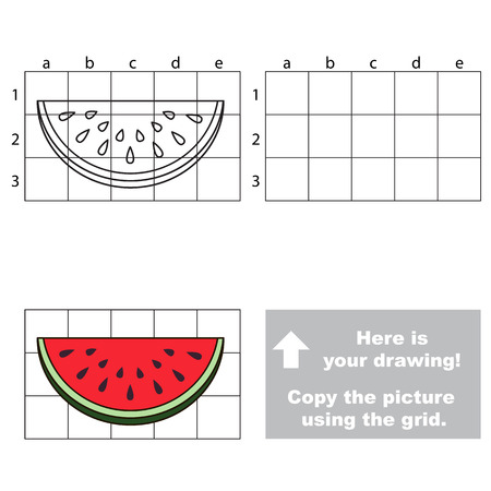 watermelon slice: Copy the picture using grid lines. Easy educational game for kids. Simple kid drawing game with Watermelon slice Illustration