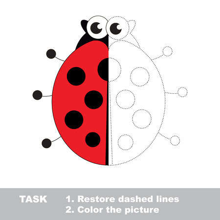 Ladybug in vector to be traced. Restore dashed line and color the picture. Visual game for children. Easy educational kid gaming. Simple level of difficulty. Worksheet for kids education. Illustration
