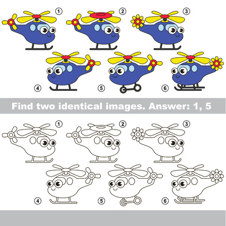 similar: The design difference. Vector visual game for kid education. Simple game level. Easy educational game. Task and answer. Find two similar Funny Helicopters.