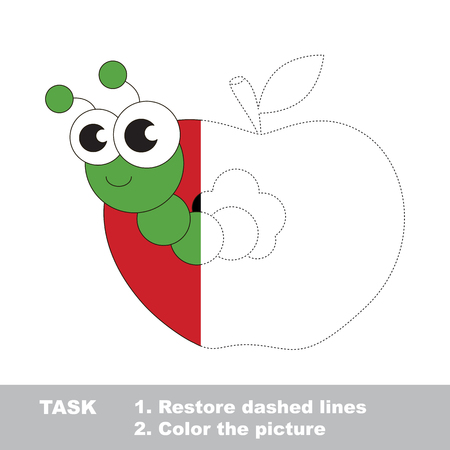 Apple worm in vector colorful to be traced. Restore dashed line and color the picture. Visual game for children. The easy level. Worksheet to be colored.