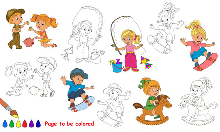 primary education: Kid summer games to be colored. Coloring book to educate kids. Learn colors. Visual educational game. Easy kid gaming and primary education. Simple level of difficulty. Coloring pages.