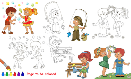 primary education: Kid summer playing to be colored. Coloring book to educate kids. Learn colors. Visual educational game. Easy kid gaming and primary education. Simple level of difficulty. Coloring pages. Illustration
