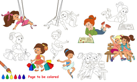 difficulty: Cute little girls to be colored. Coloring book to educate kids. Learn colors. Visual educational game. Easy kid gaming and primary education. Simple level of difficulty. Coloring pages.