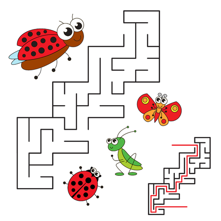 brainteaser: Ladybird and her baby. Kid maze game. Search the way. Easy educational kid game. Simple game level. Help to fihd the solution. Visual labyrinth game for children. Colorful version.