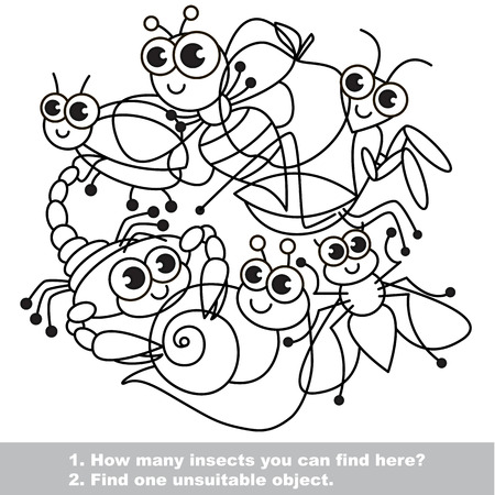 mishmash: Cute insects. The simple mishmash set in vector outlined to be colored. Find all hidden objects on the picture. Visual game for children. The easy level. Illustration