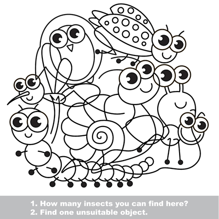 mishmash: Mishmash of funny insects. Set in vector outlined to be colored. Find all hidden objects on the picture. Easy educational kid game. Simple level of difficulty. Visual game for children.