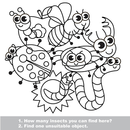 mishmash: The mishmash of funny insects. The colorless outlined set in vector. Find all hidden objects on the picture. Easy educational kid game. Simple level of difficulty. Visual game for children.