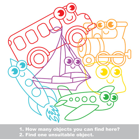 brainteaser: Funny toy transport mishmash set in vector outlined to be colored. Find all hidden objects on the picture. Easy educational kid game. Simple level of difficulty. Visual game for children.