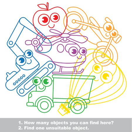 difficulty: Cute toy transport mishmash set in vector outlined to be colored. Find all hidden objects on the picture. Easy educational kid game. Simple level of difficulty. Visual game for children.