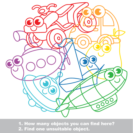 mishmash: Cute toy machines mishmash set in vector outlined to be colored. Find all hidden objects on the picture. Easy educational kid game. Simple level of difficulty. Visual game for children. Illustration
