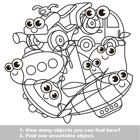 difficulty: Cute toy machines mishmash set in vector outlined to be colored. Find all hidden objects on the picture. Easy educational kid game. Simple level of difficulty. Visual game for children. Illustration