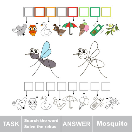 gnat: Vector rebus game for children. Easy educational kid game. Simple game level. Find solution and write the hidden word Mosquito Illustration