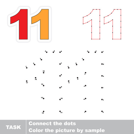 number eleven: Figure Eleven in vector to be traced by numbers. Vector visual game for children.