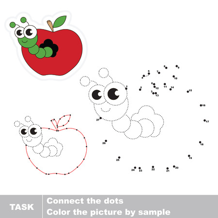 joining the dots: Worm and apple in vector to be traced by numbers. Easy educational kid game. Simple level of difficulty. Education and gaming for kids. Vector visual game for children. Illustration